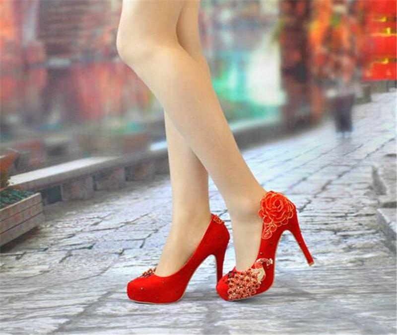 2016 New Peacock flower Rhinestone High Heels Shoes Women Pumps Pointed toe Woman Crystal Wedding Shoes 8cm or 11cm 14cm heel big size