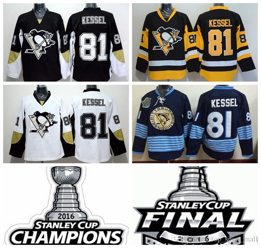 sports shoes 8f94c 03477 Pittsburgh Penguins 81 Phil Kessel Ice Hockey Jerseys 2016 Cheap Winter  Classic Black White Yellow 2016 Champions Final Patch