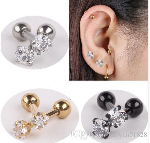 10pair Stainless Steel Tragus Helix Ear Stud Earring Ball Barbell Ear Piercing Black Silver Gold Barbell Jewelry For Men Women
