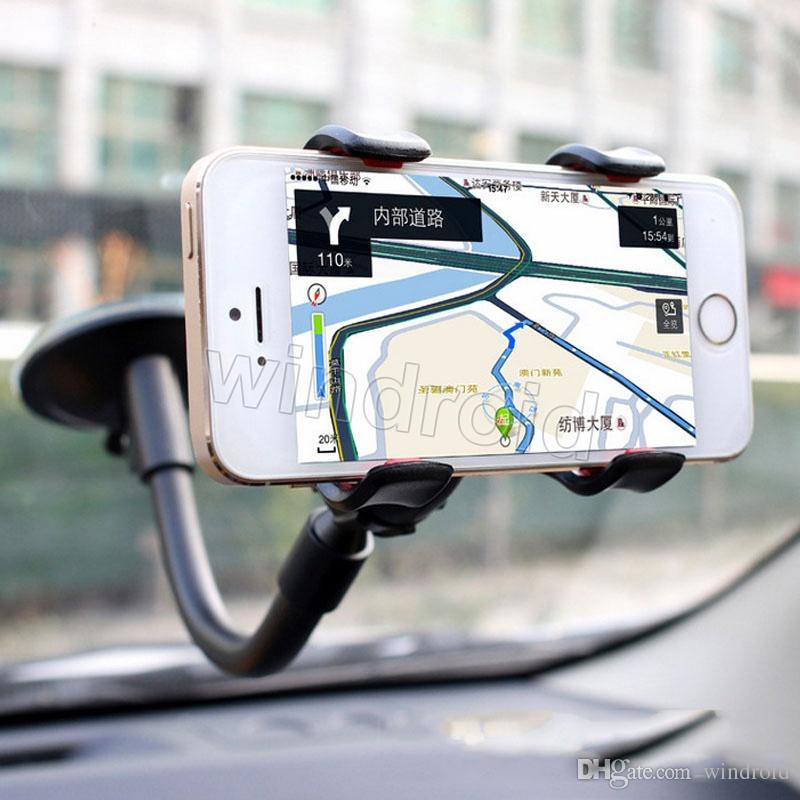 360 درجة الذراع الطويلة كسول سيارة عالمية لينة أنبوب شفط جبل القوس حامل مزدوج v كليب ل فون 7 i7 note5 الهواتف النقالة + مربع التجزئة