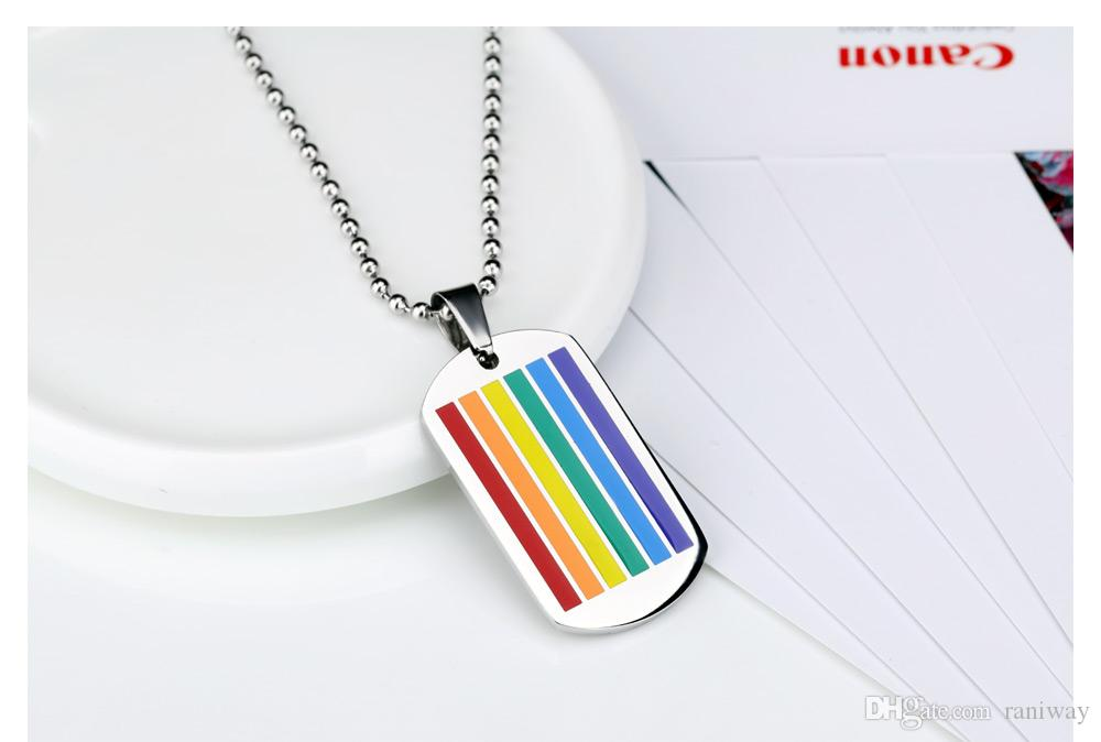 Vnox Jewelry Stainless Steel Rainbow Gay Lesbian Pride Square Dog Tag Pendant Lgbt Necklace with Free Necklace Chain, Silver,