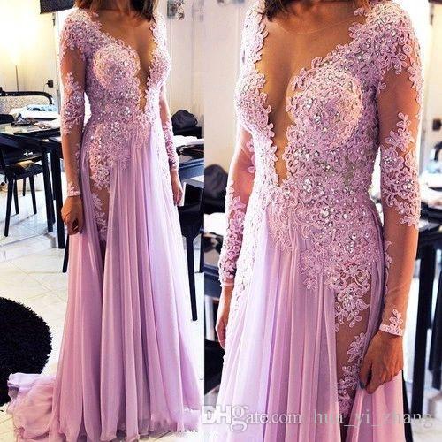 Sexy Pailletten Prom Kleider Scoop Sheer Deep V Neck Top Lavendel Abendkleider 2016 Chiffon Lange Abendkleider