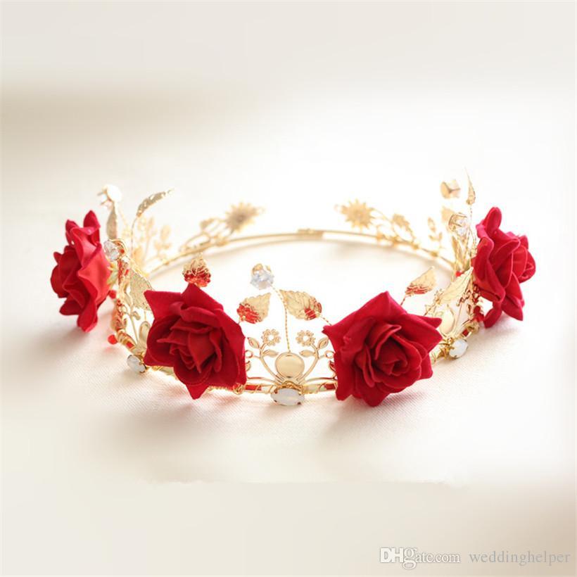 Vintage Wedding Bridal Floral Crown Flower Headband Red Rose Crown Tiara Leaf Headpiece Princess Queen Hair Accessories Vintage Prom Jewelry