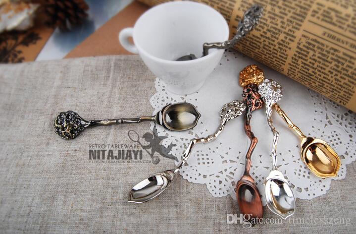 Aleación de Zinc Retro Acorn Cuchara de Café Té de Azúcar Helado Cubiertos Cuchara de Postre decoración cuchara de Comedor Bar Vajilla herramienta