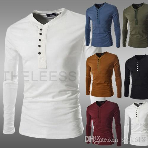 Best 2015 Men Dress Long Sleeve T Shirts Unique Access Design Slim ...