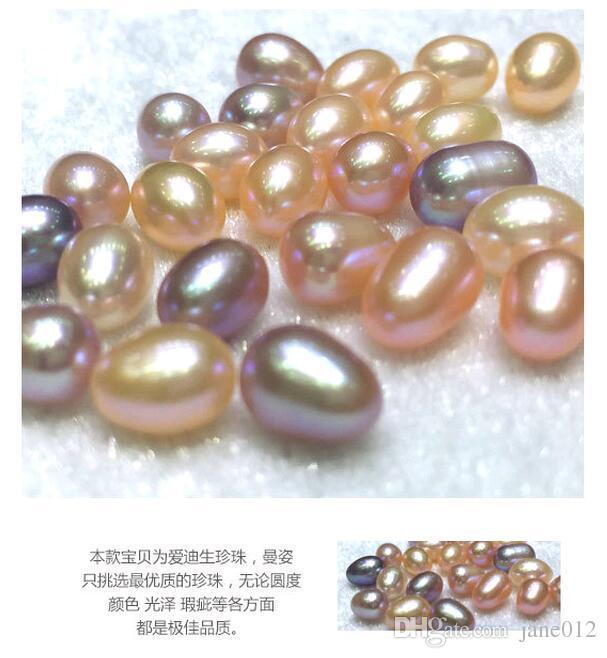 진짜 민물 진주 타원형 느슨한 구슬을 만드는 보석을위한 강렬한 완벽한 자연 진주 구슬 6-9mm 도매