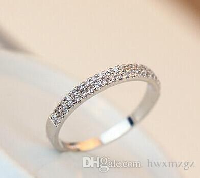 Elegant!!! 18K Rose Gold Plated Austrian Rhinestones Micro Setting Double Row Design Lady Finger Ring