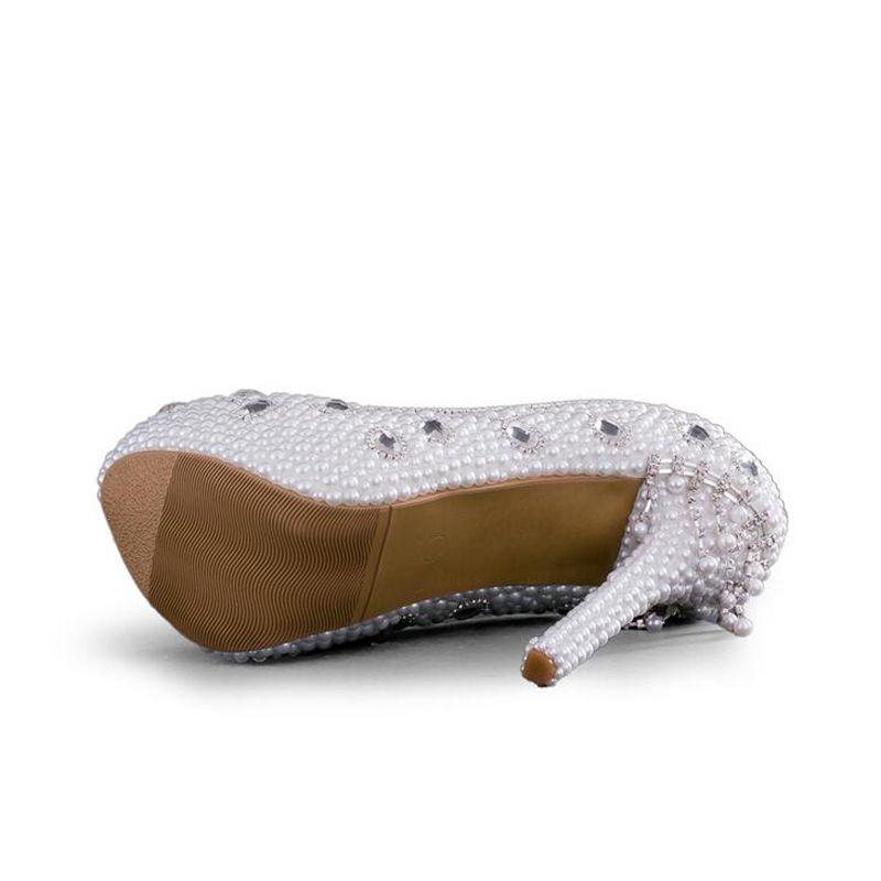 Moda donna Scarpe eleganti primavera Handamde di alta qualità Bianco perla Pompe da sposa Scarpe la madre della sposa Tacchi alti da sposa