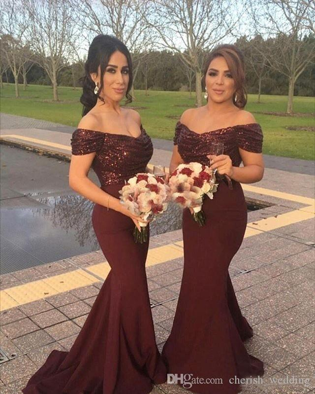 Burgundy Country Bridesmaid Dresses Mermaid Sequins Top Elastic Satin Skirt Off the Shoulder Wedding Party Maid of Honor Dresses Plus Size
