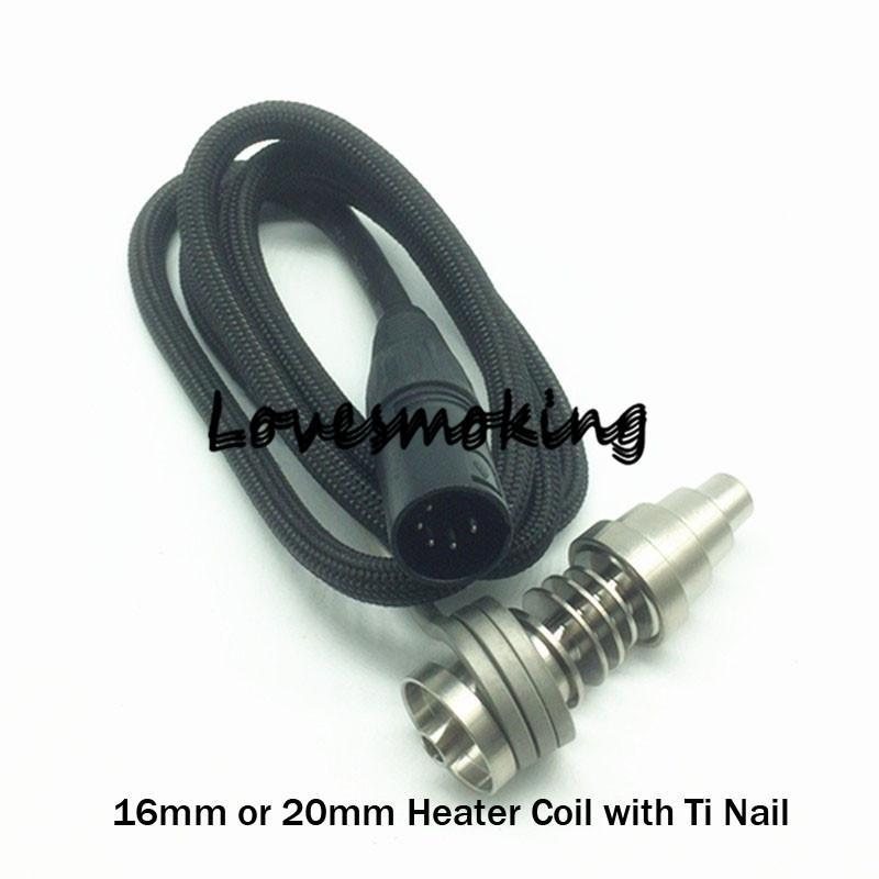 WAX Calentador de bobina de vaporizador con 6 en 1 Titanio 16 mm 20 mm Calentador de bobina 100W 110V 220V Electrónica Clavo de bobina Cuarzo híbrido de bobina Clavo