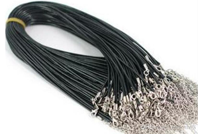 100 teile / los Black Gummi Halskette Schnur mit Hummer-Klassifizierungen Komponenten für DIY Schmuck Mode-Geschenk W4 *