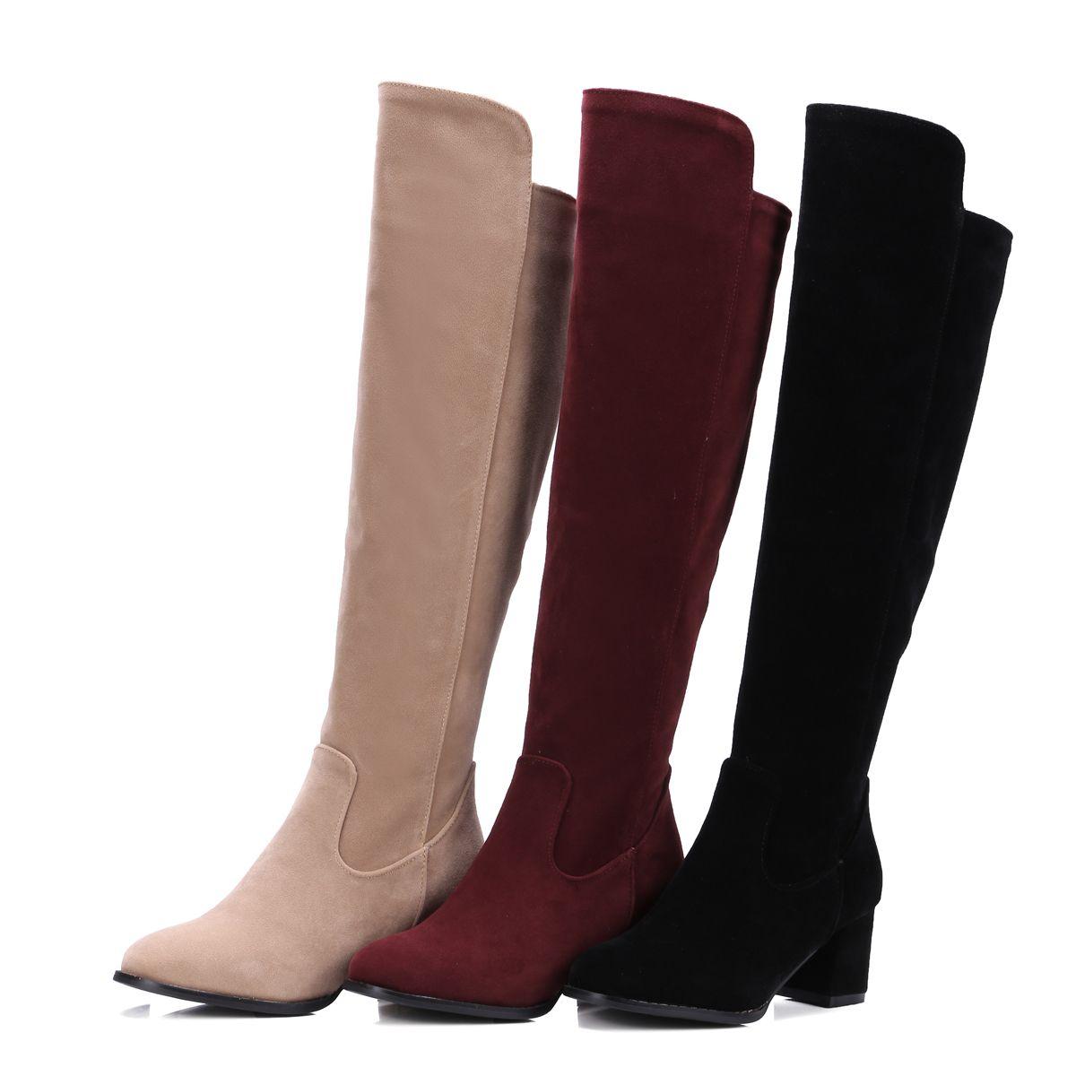 6a8216e5c44 Acheter Faux Suede Chaussures De Nouvelles Femmes De La Mode Bloc Talon Zip  Bout Rond Bottes Au Genou B570 Nous Taille 4 10.5 De  30.15 Du  Wholesale0086 ...