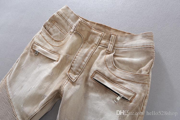 Mode spécial couleur Mens Locomotive Biker Jeans Old Style Carte de Pierre de broyage de l'eau Slim Petit Jeans Droit Pantalon