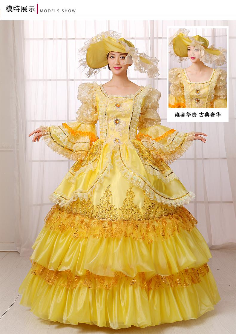 100%real Carnival Golden Embroidery Beading Court Medieval Dress ...