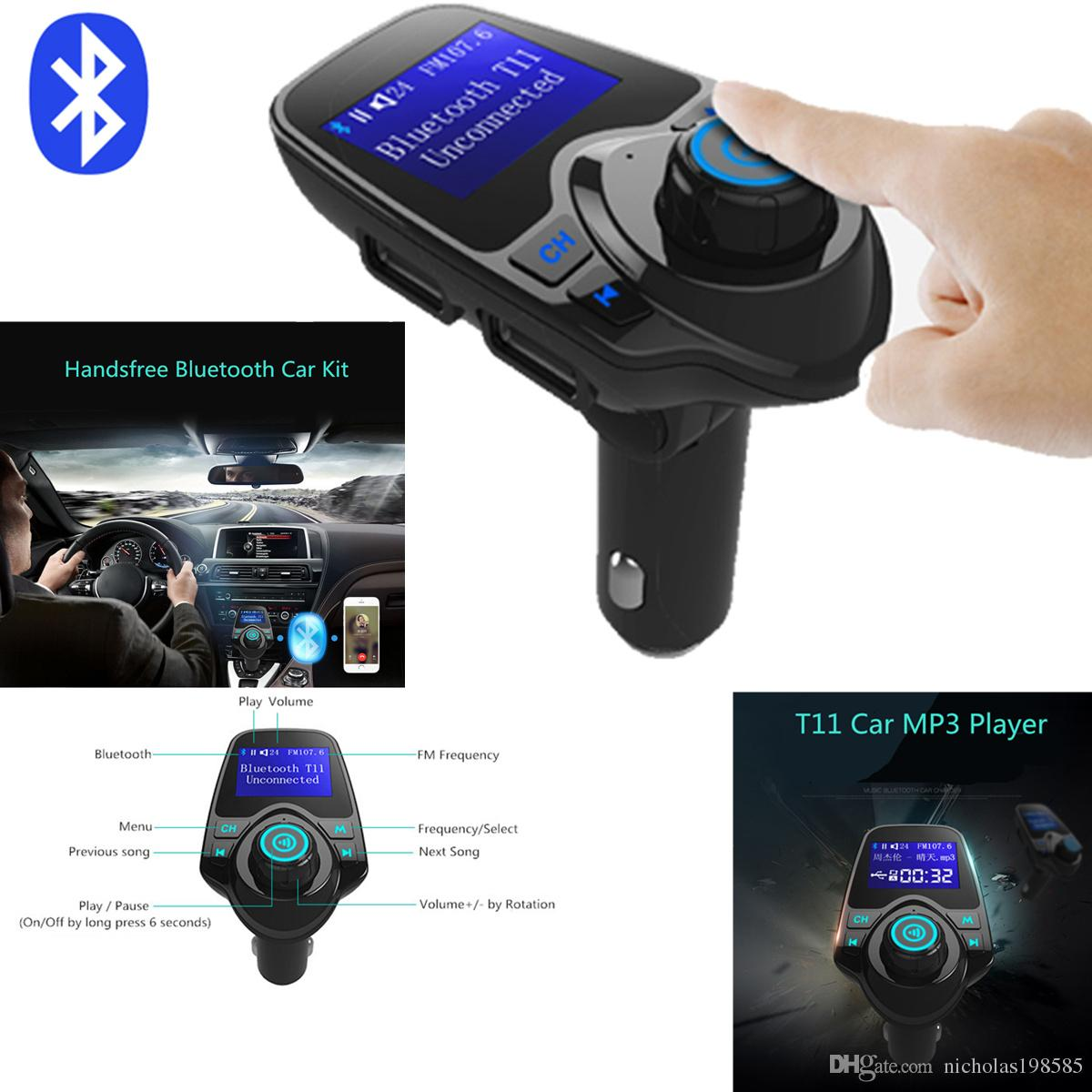 2017 t11 bluetooth hands free car kit with usb port charger and fm transmitter support tf card mp3 music player also bc06 bc09 t10 x5 g7 car kit from