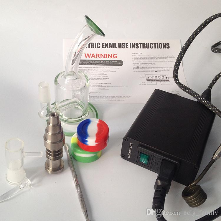 Portable mini enail temperature controller box g9 enail with 10mm/16mm/20mm coil heater with water pipe glass bong dab rigs