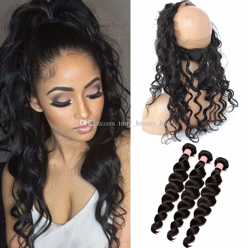 Malaysian loose wave wavy 360 lace frontal closure with bundles malaysian loose wave wavy 360 lace frontal closure with bundles unprocessed human hair weaves with full frontal lace band closure 4pcs lot pmusecretfo Image collections