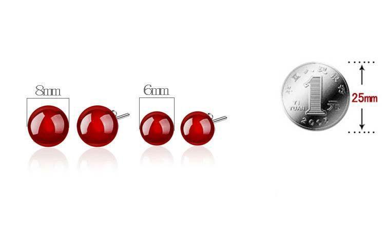Pendientes de piedra natural Stud Pendientes de ágata negro rojo creado Joyería femenina Corea Tremella Nueva bola de plata Stud Pendientes para mujeres