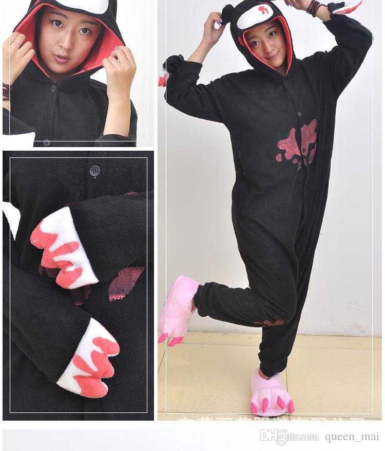 Дешевые DHL пижамы Черный Розовый мрачный медведь Полярный теплый флис Япония аниме мода Onesie пижамы животных костюмы косплей взрослых одежда комбинезон