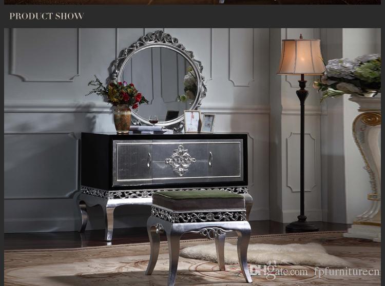 أثاث كلاسيكي حديث - طقم أثاث غرفة نوم كلاسيكية فرنسية فاخرة - طاولة تكسير الطلاء ومرايا مع أوراق فضية مطلية
