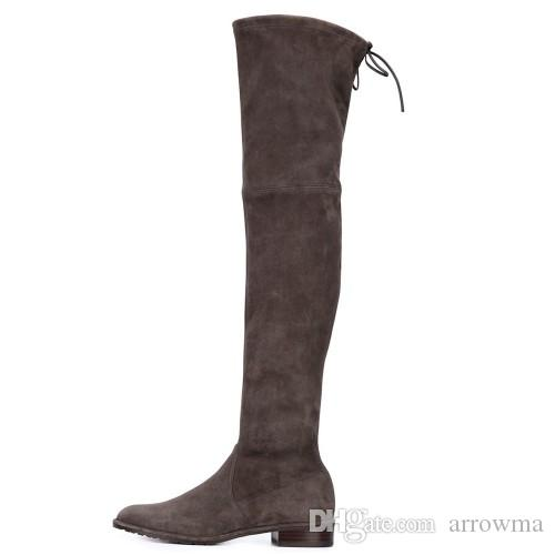 2016 Long Knee Length Boots Custom Made Plus Size Party Evening Shoes Boats Sexy Flat With Fashion Boots New Arrive