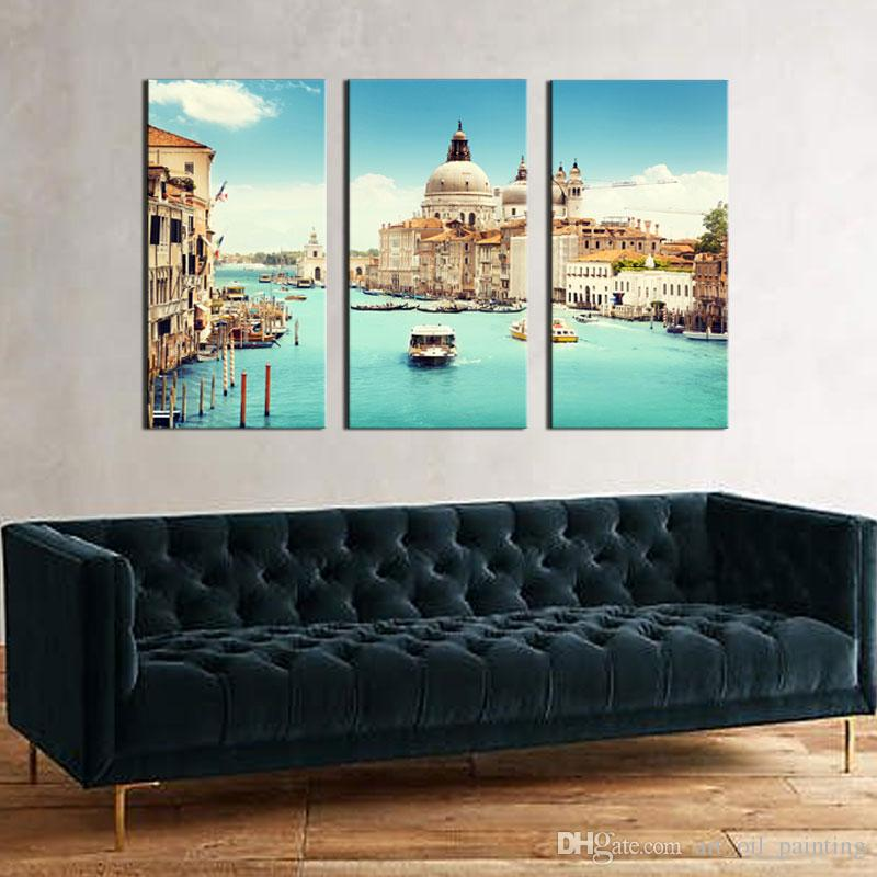 Spirit Up Art Huge Home Decorations-Italy Venice Canvas Print Modern Wall Painting Art set Landscape Painting on Canvas For Living Room