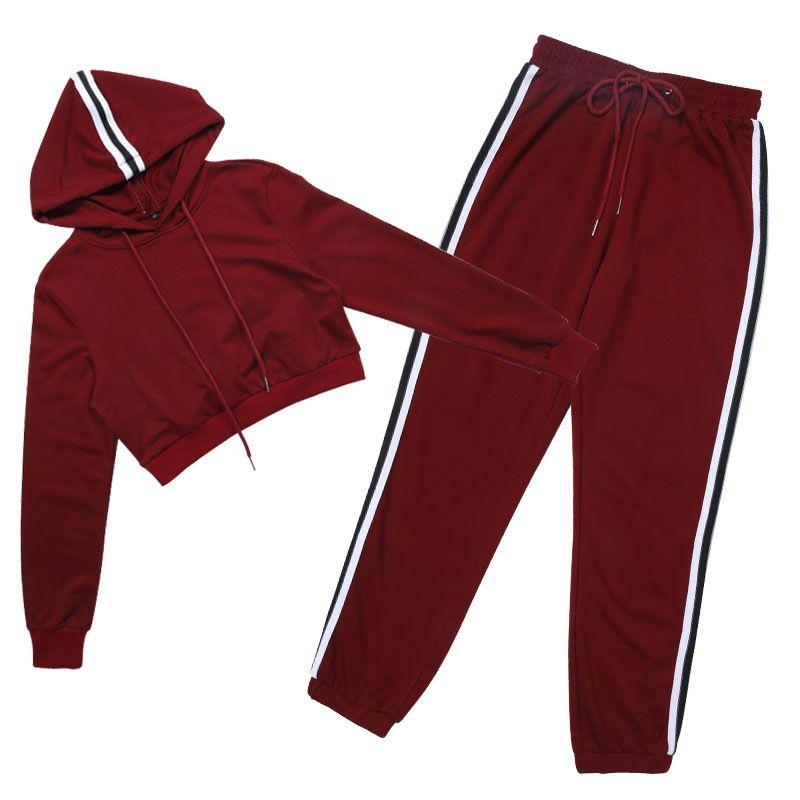 Frauen Trainingsanzüge 2017 neue Herbst Frühling Frauen Anzug Langarm-Kapuzen-Sweatshirt Tops + Hosen Mode Pullover pantalones 2 Stück Sets