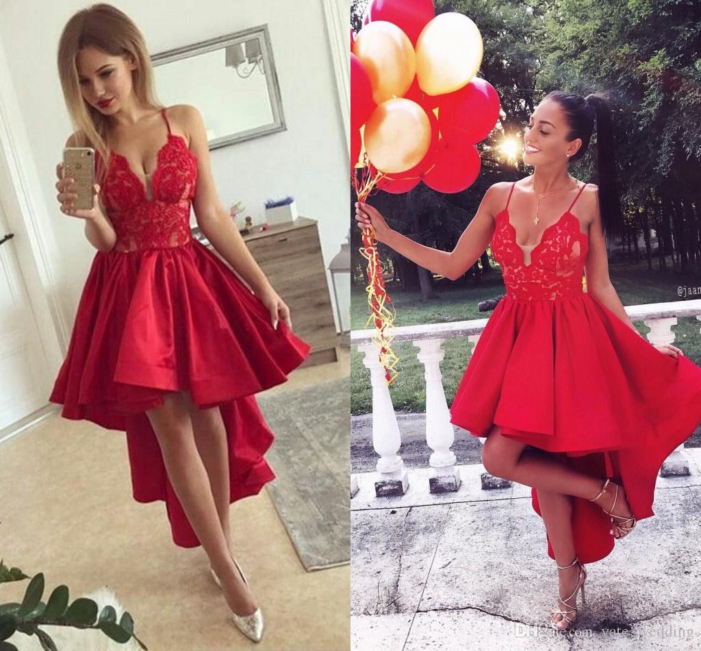 High Low Red Satin Homecoming Dresses V Neck Spaghetti Straps Lace Ruched  Hi Lo Prom Dresses Short Mini Party Dresses Homecoming Dress Red Homecoming  Dress ... 69fb21708
