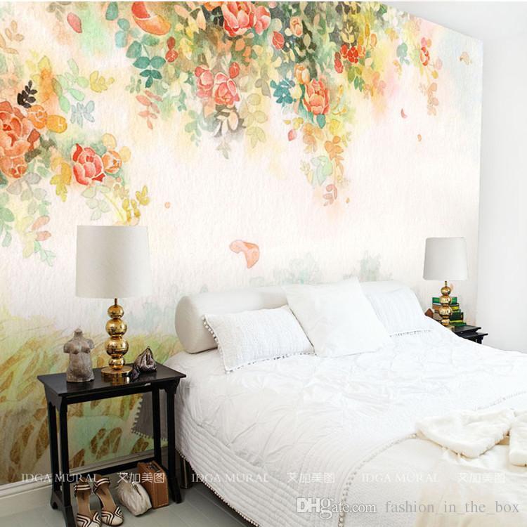 Floral Room Wallpaper: Compre Elegante Foto Papel Tapiz Rosa Flor Murales 3D