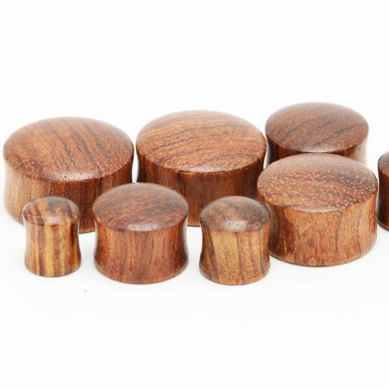 28piece fashion ear tunnels wooden plug earrings 8mm-20mm brown color  natural rose wood flesh tunnel body piercing jewelry men