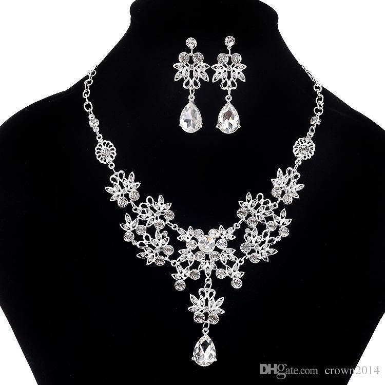 2017 Fashion Crystal Adjustable Bridal Jewelry Sets Wedding