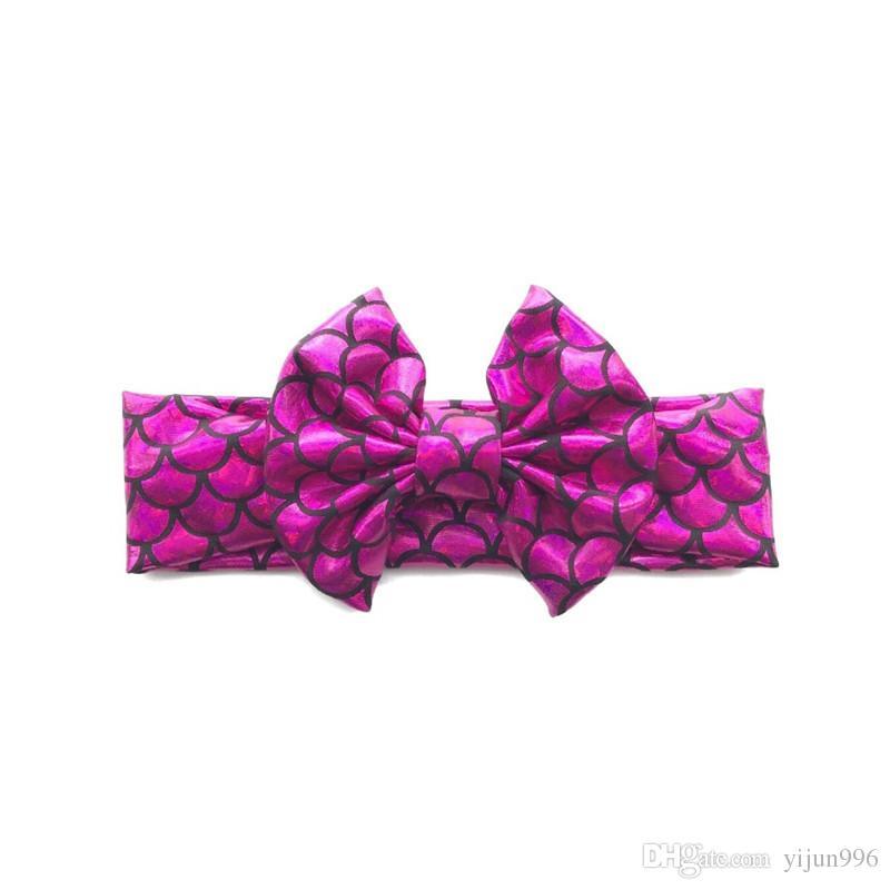 Mermaid Headband For Baby Girls Sequin Bow headbands Children Shining Bowknot Hair Accessories Big Bows A32