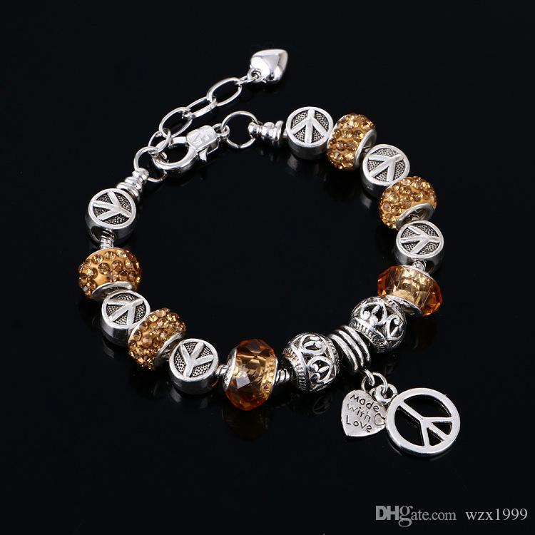 Mode shappire Stein Pandoras Charme Perlen Armbänder für Frauen 925 Sterling Silber Schmuck DIY Frauen-Armbänder Schmuck Großhandel