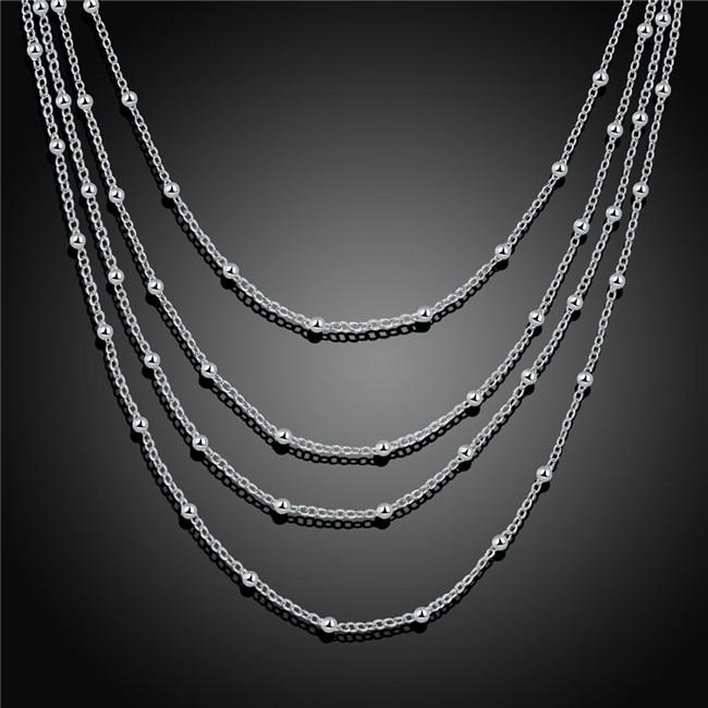 Hot sale women's four layer Light bead necklace sterling silver plate necklace STSN751,brand new fashion 925 silver necklace factory sale