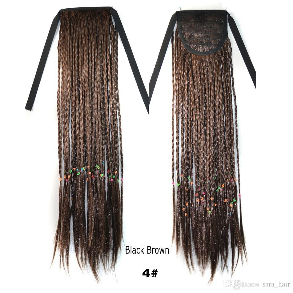 "Sara,Braiding Hair Drawstring Straight Micro Braids Ponytail Hair Extension 45CM,18"",Clip in on Ponytails Synthetic Hairpiece Horsetail"