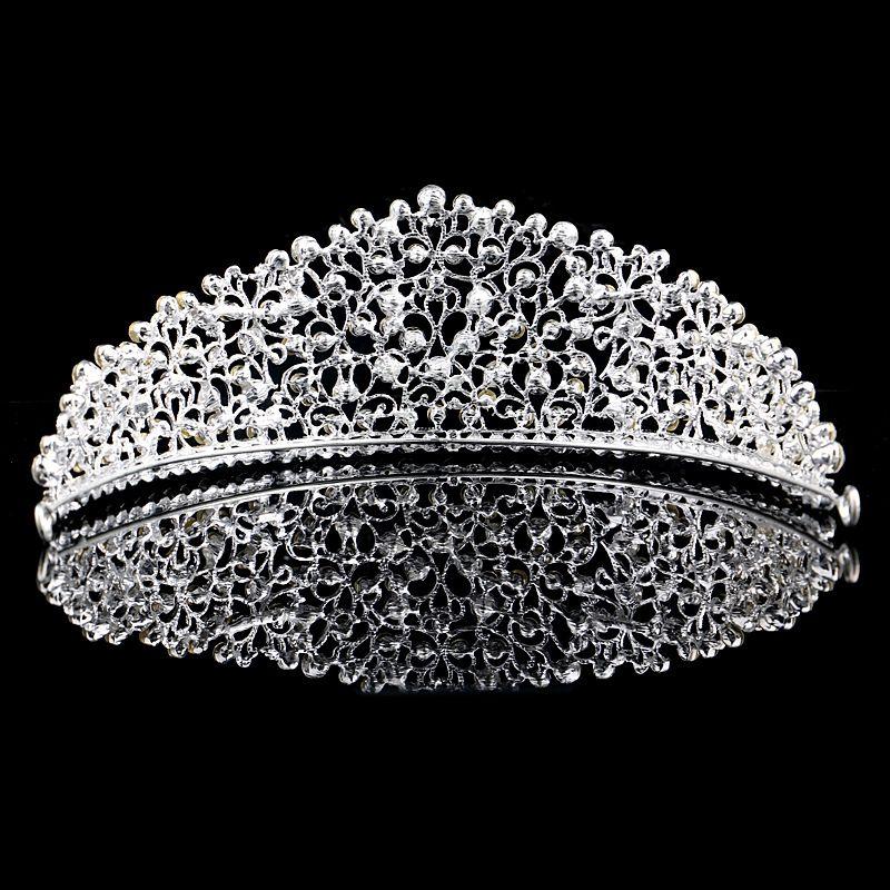 Splendido argento scintillante grande matrimonio Diamante Pageant diademi Hairband corone da sposa in cristallo spose Prom Pageant capelli gioielli copricapo