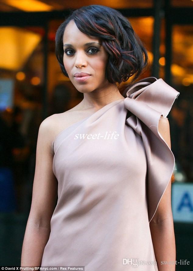 Nueva Kerry Washington Celebrity Dress Vestidos de fiesta de dama de honor Un hombro Bow Satin Longitud de la rodilla Vaina Club Vestidos de cóctel 2019