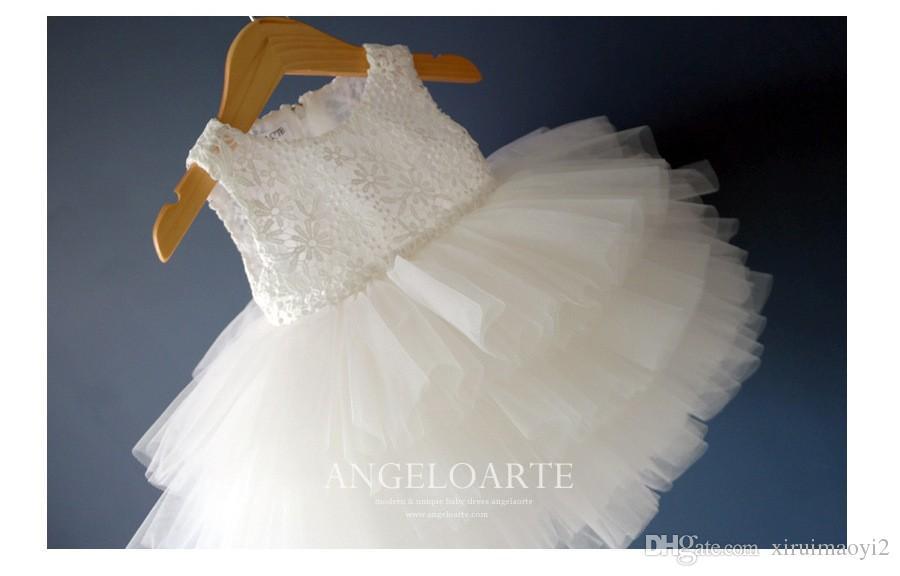 1-12Y Venta Caliente Elegante Vestido de Tul Blanco Satén Niña Tutú Vestido Niños Fiesta de Boda Festival de Cumpleaños Vestidos de Boda