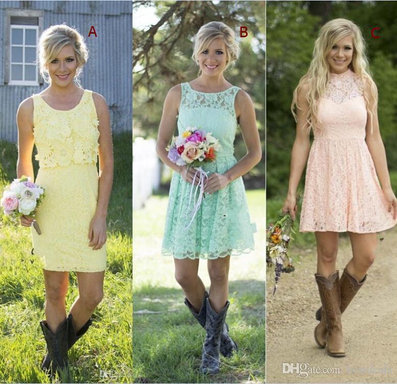 2017 새로운 컨트리 스타일 짧은 레이스 신부 들러리 드레스 2016 민소매 라인 정식 하녀 명예 드레스 무릎 길이 웨딩 파티 드레스