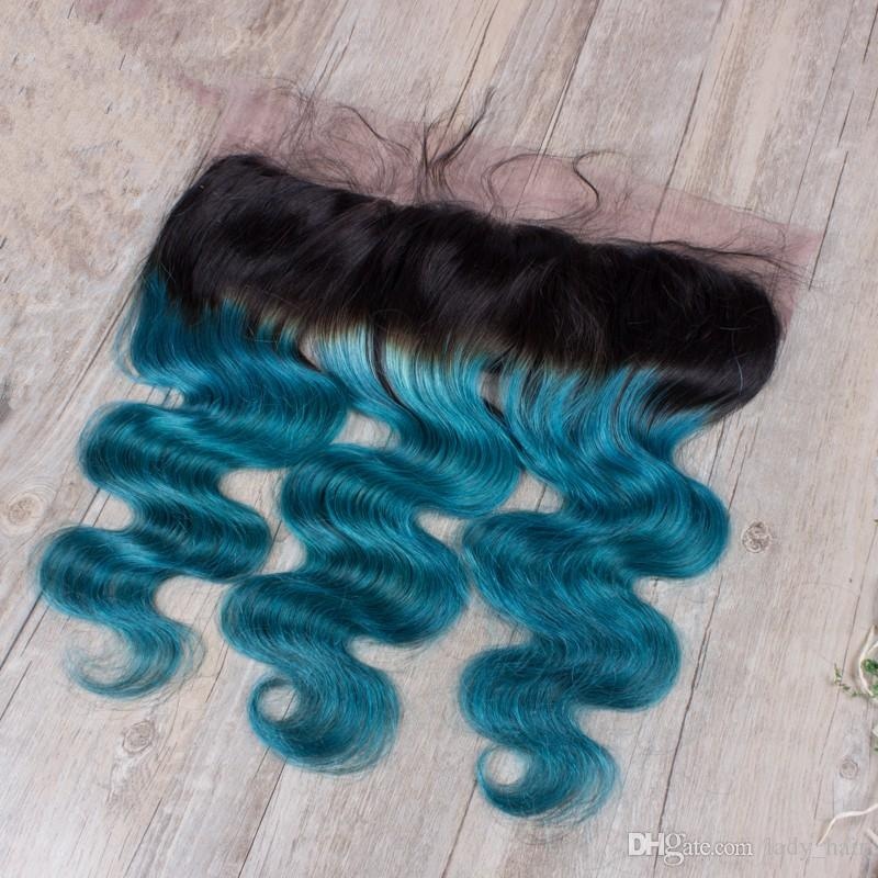1B Green Two Tone Ombre Brazilian Body Wave Virgin Hair With Frontals 3Bundles Ombre Human Hair With Free Part Lace Frontal