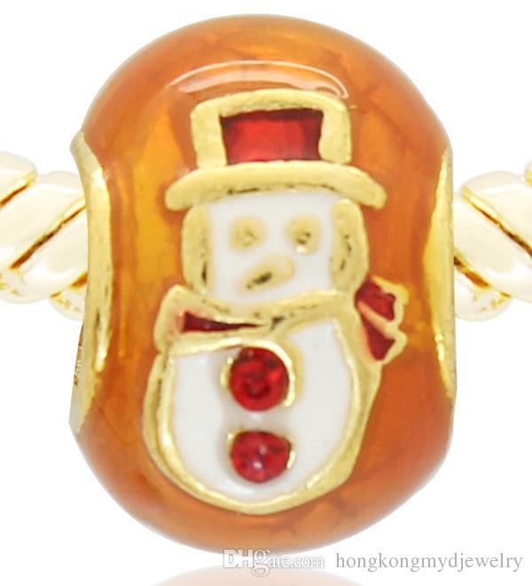 hand color enamel gold plating Merry Christmas Snowman charm bead Faberge egg Fits Pandora European Bracelet