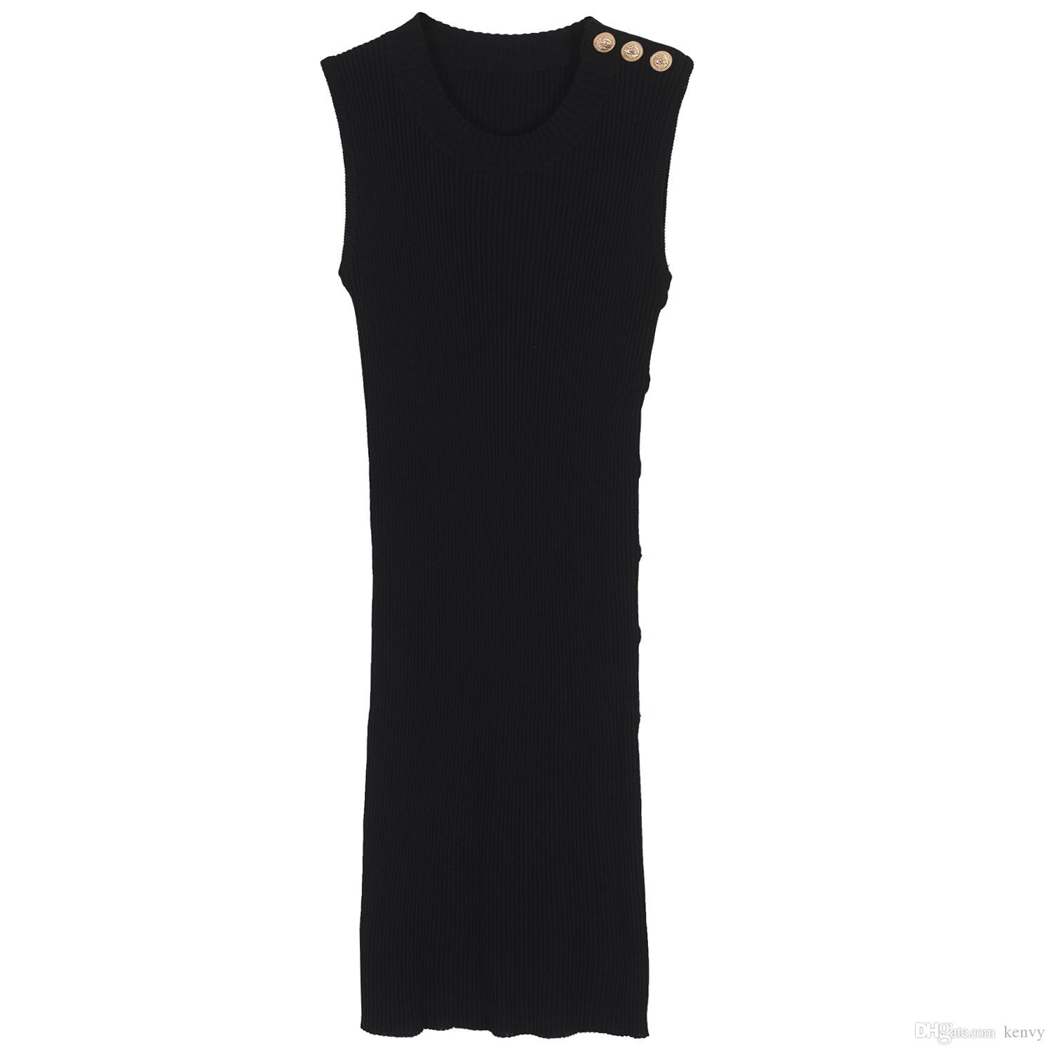 Brand fashion women's high-end luxury metal buckle decorated sleeveless knitted vest Slim black dress