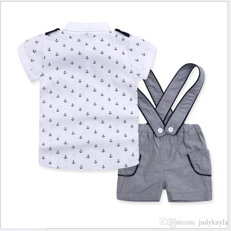 3 Stücke Set 2016 Baby Jungen Navy Stil Kleidung Sets Kinder Kurzarm Anker Hemd + Hosenträger Shorts + Bowtie Kinder Anzüge Jungen Outfits