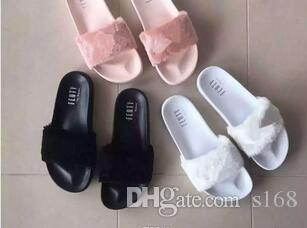 size 40 57698 94a37 New RIHANNA LEADCAT FENTY Slipper,Rihanna Leadcat Fenty Faux Fur Slide  Sandal Fashions Women Fenty Slippers Black Slide Sandals Fenty Slides