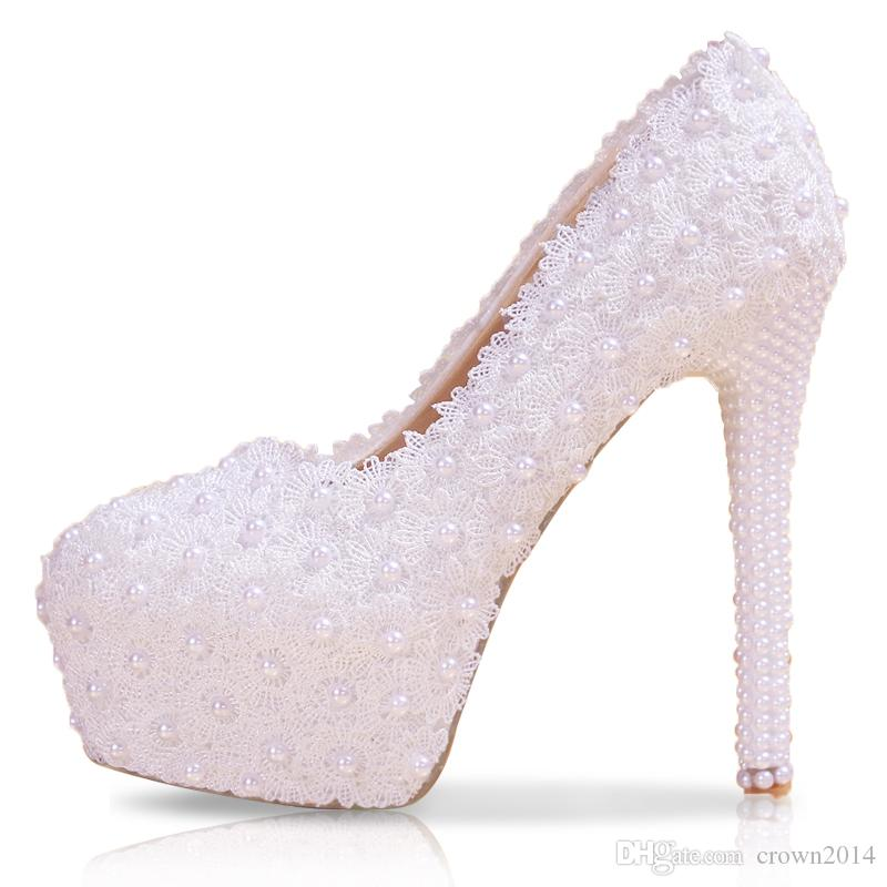 2019 Fashion Lace Wedding Shoes White Flat Low Mid High Heel Pearls Bridal Shoes Party Prom Shoes for Women In Stock