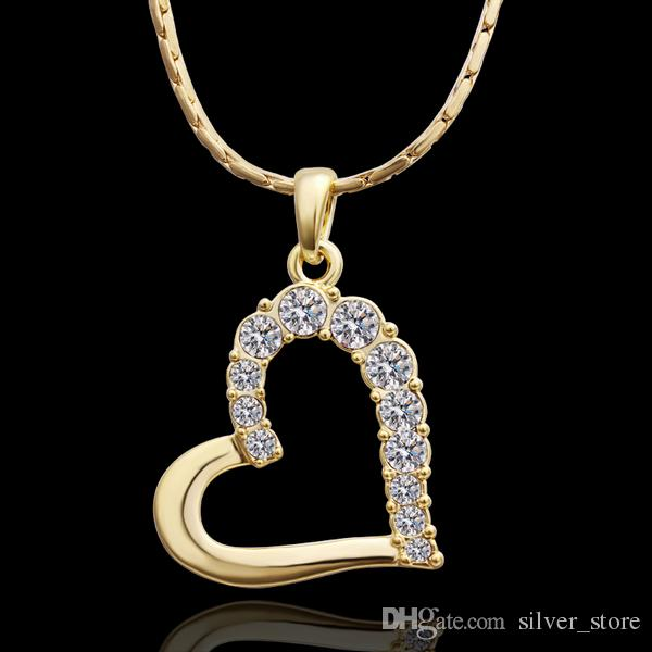 brand new 24k 18k yellow gold heart Pendant Necklaces jewelry GN512 fashion gemstone crystal necklace christmas gift