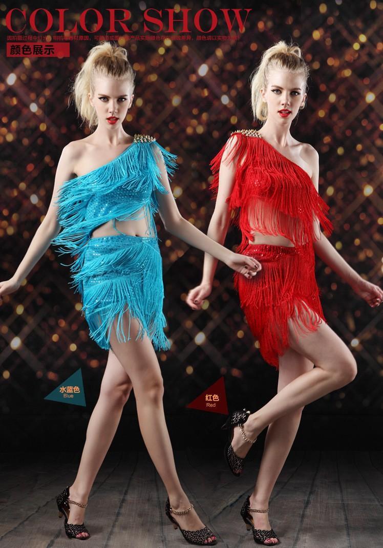 2017 ballo latino vestito donne costumi di scena nappa signora abiti da ballo latino samba / cha cha / sala da ballo / jazz / gonna abito tango discoteca