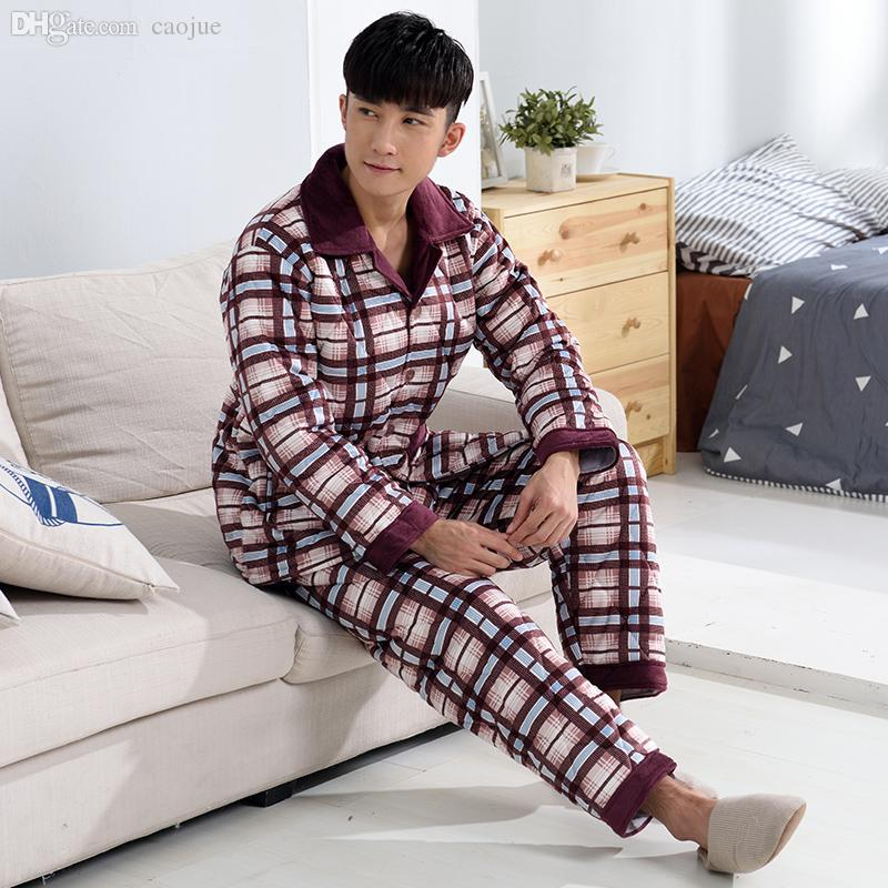 9b2e8ff002 Russian Winter Overalls Thick Flannel Quilted Pajamas Men S Long Sleeved  Quilted Jacket Sleepwear Men Pyjama From Caojue