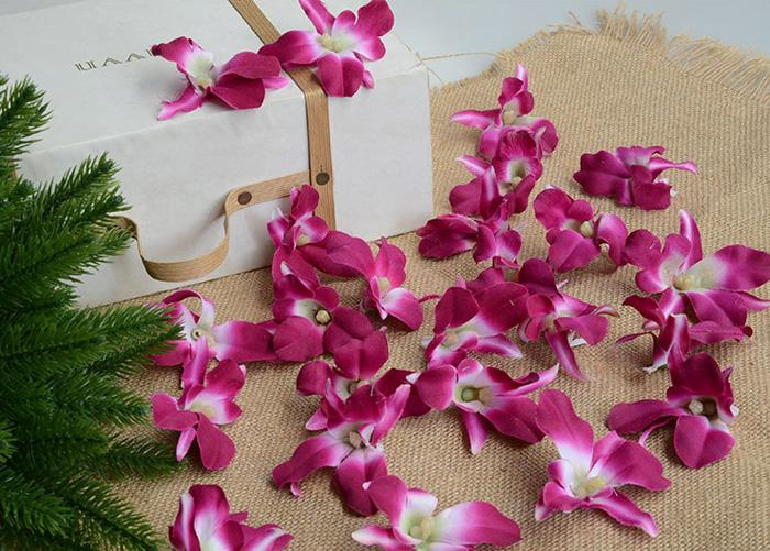 Silk orchid accessories Artificial Orchid Flowers Heads Garland to make wedding kissing ball,hair clips,door wreath,chair decoration