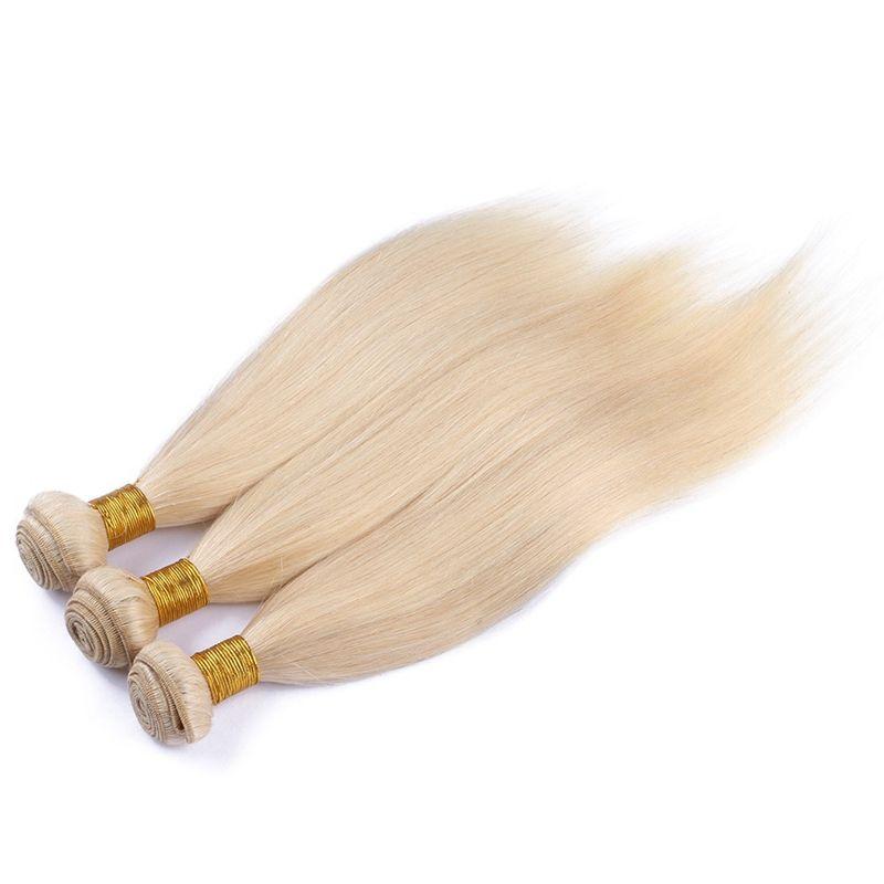 9A Pas Cher Péruvienne Blonde cheveux 3Bundles Avec Soyeux Droite 4x4 Dentelle Fermeture Stock 613 Blonde Vierge Cheveux Péruviens Avec Fermeture